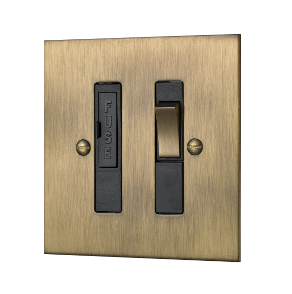 Classic square edge switched fused connection unit in burnished brass