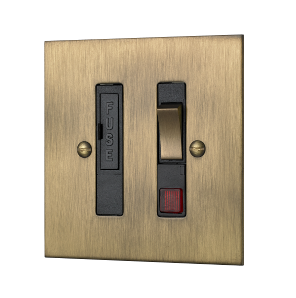 Classic square edge switched fused connection unit with neon in burnished brass