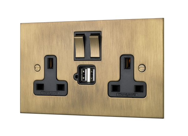 Double plug socket with USB plug.