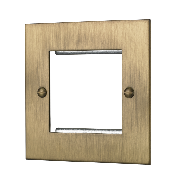 Classic square edge double euromod plate in burnished brass
