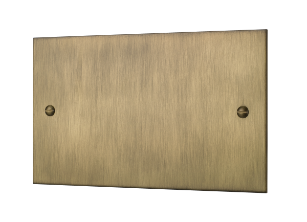 Classic square edge double blank plate in burnished brass