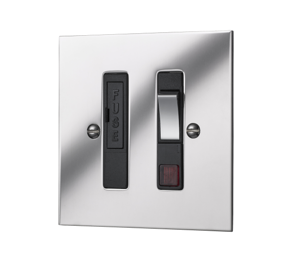 Classic square edge switched fused connection unit with neon in polished mirror