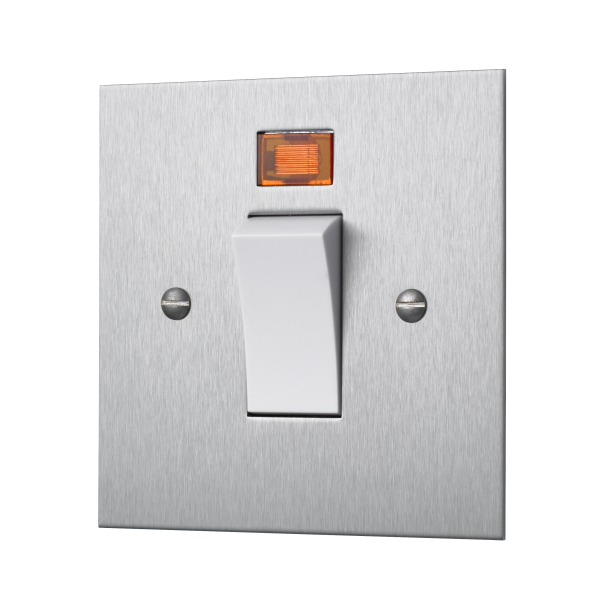 Classic square edge 45 AMP cooker switch in satin stainless steel