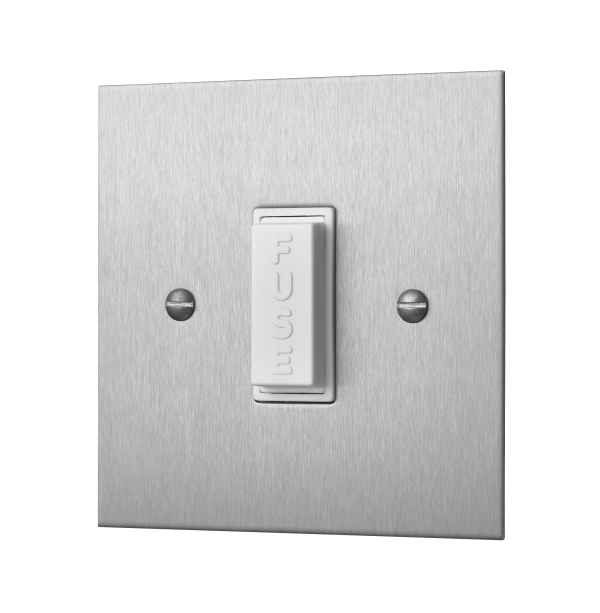 Classic square edge unswitched fused connection unit in satin stainless steel
