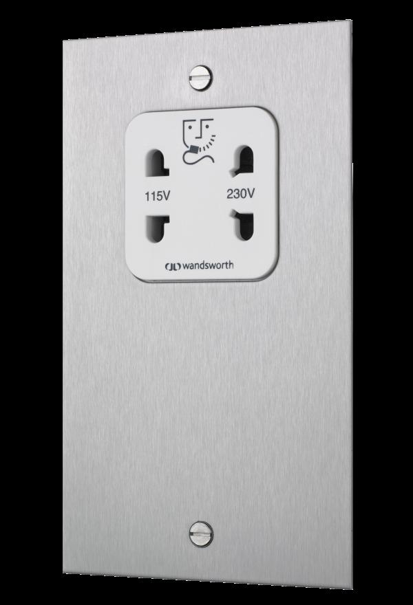 Square edge socket shaver unit in satin stainless steel
