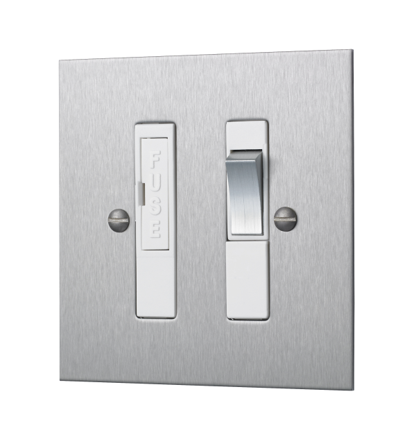 Classic square edge switched fused connection unit in satin stainless steel