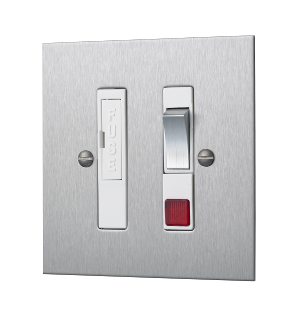 Classic square edge switched fused connection unit with neon in satin stainless steel