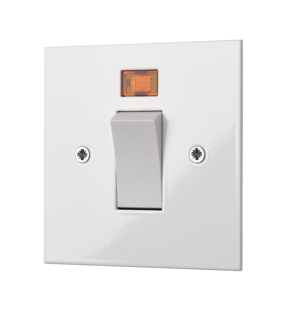 Square edge classic 45 AMP cooker switch in white