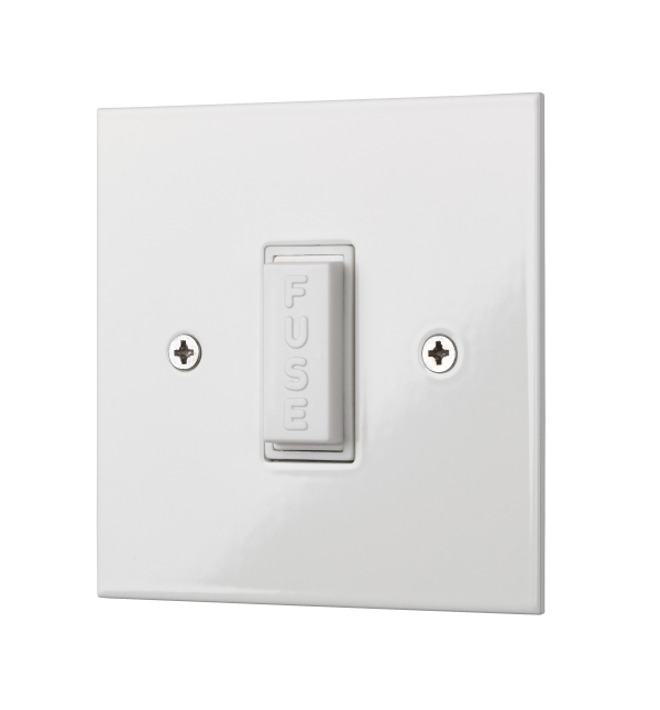Square edge classic style unswitched fused connection unit in white