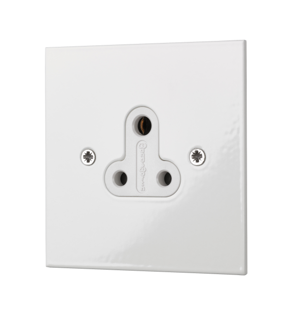 Classic square edge 5 amp unswitched socket in white