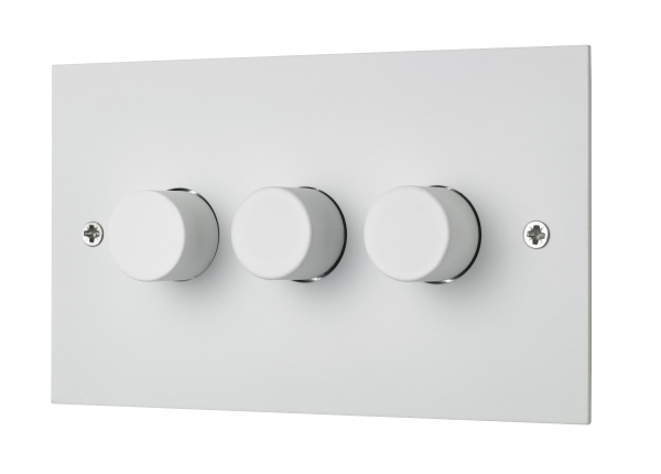 Classic square edge triple 120W LED dimmer switch in white etched prime