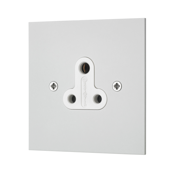 Classic square edge 5 AMP unswitched socket in white etched prime