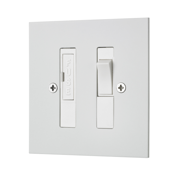 Classic square edge switched fused connection unit in white etched prime