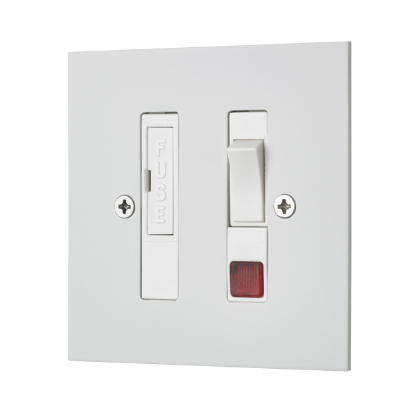Classic square edge switched fused connection unit with neon in white etched prime