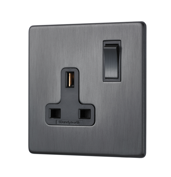 Our single switched socket from our penthouse collection, shown in dark antique bronze