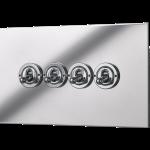 Square-edged quad toggle switch panel