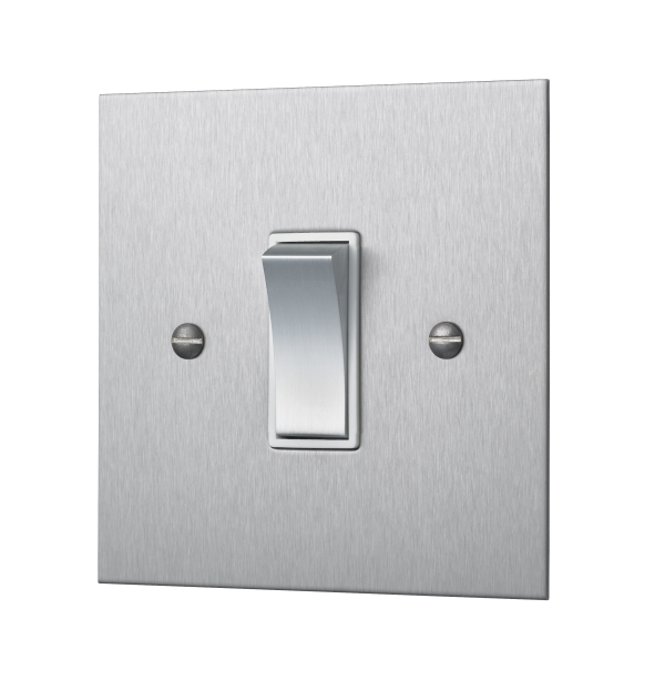 Our square-edged single two-way rocker switch with a brushed finish