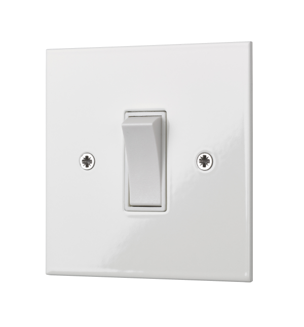Our square-edged single two-way rocker switch in a classic design