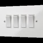 Our quad square-edged rocker switch unit