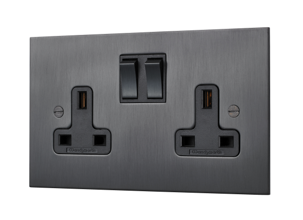 Classic square-edge twin switched socket