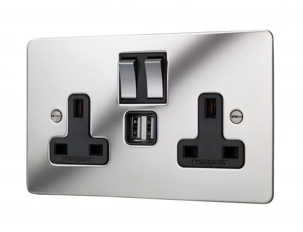 Classic square edge twin switched socket in polished mirror finish with twin USB integration