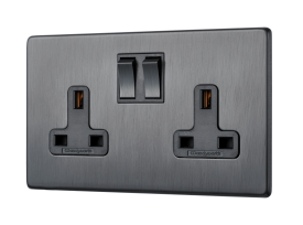 Victorian Polished Chrome Black Insert Plastic Rocker Switch USB Socket 2 Gang 13A Double Wall Plug USB Socket 3