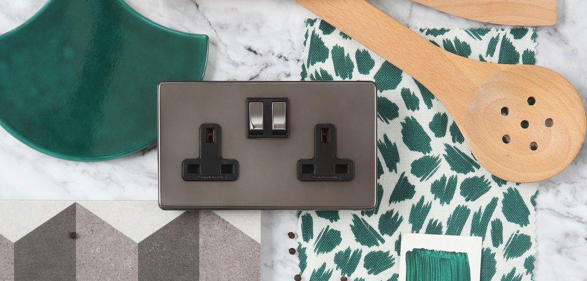 Black Nickel Infinity twin switched socket moodboard (2) (1)